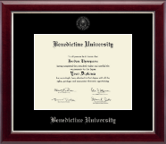 Benedictine University Diploma Frame - Silver Embossed Diploma Frame in Gallery Silver