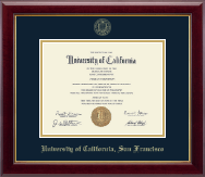 University of California San Francisco Diploma Frame - Gold Embossed Diploma Frame in Gallery