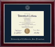 University of California San Francisco Diploma Frame - Silver Embossed Diploma Frame in Gallery Silver