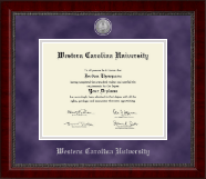 Western Carolina University Diploma Frame - Silver Engraved Medallion Diploma Frame in Sutton