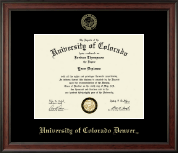 University of Colorado Denver Diploma Frame - Gold Embossed Diploma Frame in Studio