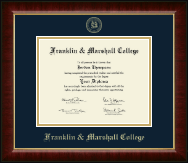 Franklin & Marshall College Diploma Frame - Gold Embossed Diploma Frame in Murano