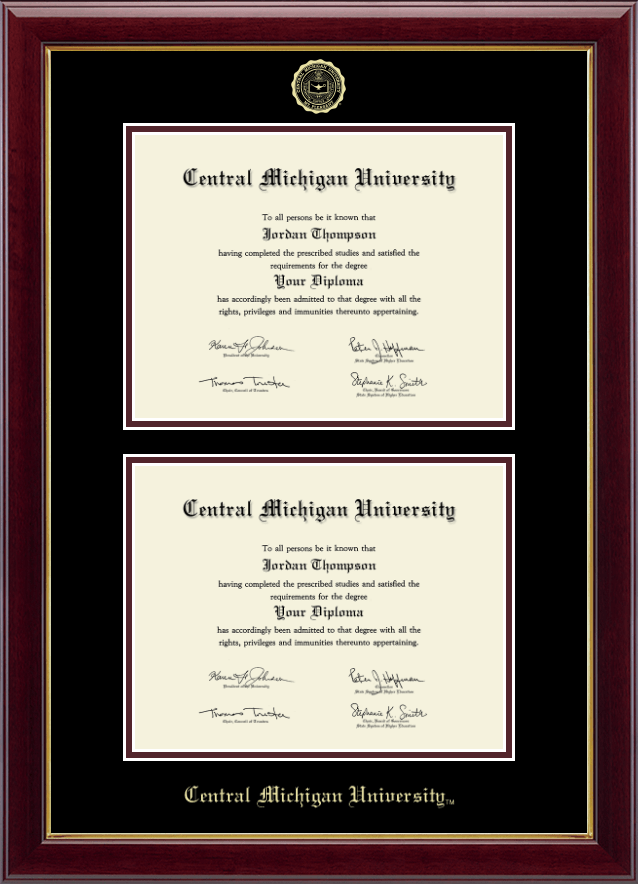 Central Michigan University Double Diploma Frame In