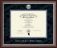Eastern Virginia Medical School Diploma Frame - Silver Engraved Medallion Diploma Frame in Devonshire
