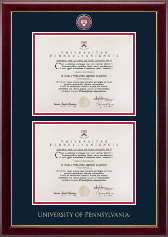 University of Pennsylvania Diploma Frame - Double Diploma Masterpiece Medallion Frame in Gallery