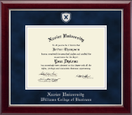 Xavier University Diploma Frame - Shield Masterpiece Medallion Diploma Frame in Gallery Silver