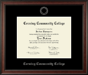 Corning Community College Diploma Frame - Silver Embossed Diploma Frame in Studio