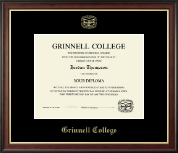 Grinnell College Diploma Frame - Gold Embossed Diploma Frame in Studio Gold