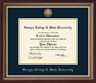 Georgia College & State University Diploma Frame - Gold Engraved Medallion Diploma Frame in Hampshire