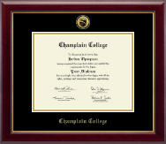 Champlain College Diploma Frame - Gold Engraved Medallion Diploma Frame in Gallery