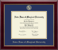 Notre Dame of Maryland University  Diploma Frame - Gold Embossed Diploma Frame in Gallery