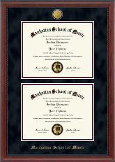 Manhattan School of Music Diploma Frame - 23K Double Diploma Frame in Signature