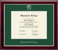 Champlain College Diploma Frame - Silver Embossed Diploma Frame in Gallery Silver