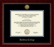 Rollins College Diploma Frame - Gold Engraved Medallion Diploma Frame in Sutton