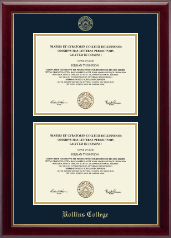 Rollins College Diploma Frame - Double Diploma Frame in Gallery