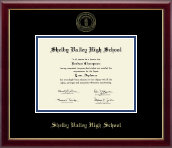 Shelby Valley High School Diploma Frame - Gold Embossed Diploma Frame in Galleria
