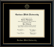 Gardner-Webb University Diploma Frame - Gold Embossed Diploma Frame in Onyx Gold