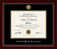 Maine Society of Certified Public Accountants Certificate Frame - Gold Engraved Medallion Certificate Frame in Sutton