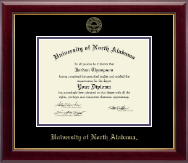 University of North Alabama Diploma Frame - Gold Embossed Diploma Frame in Gallery