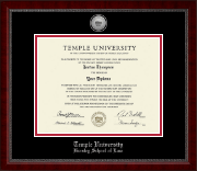 Temple University Law School Diploma Frame - Silver Engraved Medallion Diploma Frame in Sutton