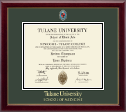 Tulane University School of Medicine Diploma Frame - Masterpiece Medallion Diploma Frame in Gallery