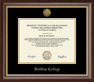 Rollins College Diploma Frame - Gold Engraved Medallion Diploma Frame in Hampshire