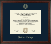 Rollins College Diploma Frame - Gold Embossed Diploma Frame in Studio