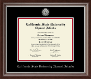 California State University Channel Islands Diploma Frame - Silver Engraved Medallion Diploma Frame in Devonshire