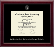 California State University Channel Islands Diploma Frame - Silver Embossed Diploma Frame in Gallery Silver