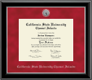 California State University Channel Islands Diploma Frame - Silver Engraved Medallion Diploma Frame in Onyx Silver