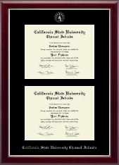 California State University Channel Islands Diploma Frame - Double Diploma Frame in Gallery Silver