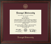 Evangel University Diploma Frame - Gold Embossed Diploma Frame in Studio