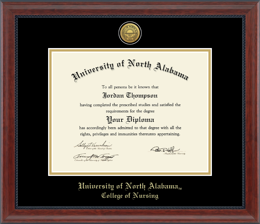 University of North Alabama Gold Engraved Medallion Diploma Frame in ...