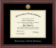 University of North Alabama Diploma Frame - Gold Engraved Medallion Diploma Frame in Signature