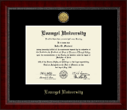 Evangel University Diploma Frame - Gold Engraved Medallion Diploma Frame in Sutton