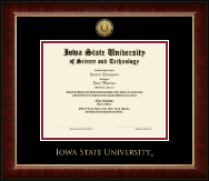 Iowa State University Diploma Frame - Gold Engraved Medallion Diploma Frame in Murano