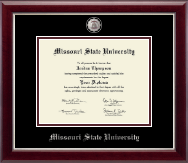 Missouri State University Diploma Frame - Masterpiece Medallion Diploma Frame in Gallery Silver