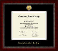 Castleton State College Diploma Frame - Gold Engraved Medallion Diploma Frame in Sutton