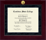 Castleton State College Diploma Frame - Millennium Gold Engraved Diploma Frame in Cordova