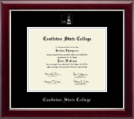 Castleton State College Diploma Frame - Silver Embossed Diploma Frame in Gallery Silver