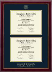 Vanguard University of Southern California Diploma Frame - Double Diploma Frame in Gallery