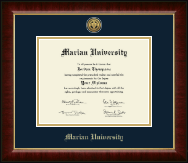 Marian University in Indiana Diploma Frame - Gold Engraved Medallion Diploma Frame in Murano