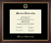 Marian University in Indiana Diploma Frame - Gold Embossed Diploma Frame in Studio Gold