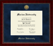 Marian University in Indiana Diploma Frame - Gold Engraved Medallion Diploma Frame in Sutton
