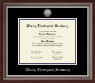 Wesley Theological Seminary Diploma Frame - Silver Engraved Medallion Diploma Frame in Devonshire