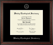 Wesley Theological Seminary Diploma Frame - Silver Embossed Diploma Frame in Studio