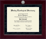 Wesley Theological Seminary Diploma Frame - Millennium Silver Engraved Diploma Frame in Cordova