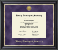 Wesley Theological Seminary Diploma Frame - Gold Engraved Medallion Diploma Frame in Noir