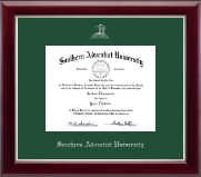 Southern Adventist University Diploma Frame - Silver Embossed Diploma Frame in Gallery Silver