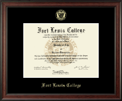 Fort Lewis College Diploma Frame - Gold Embossed Diploma Frame in Studio